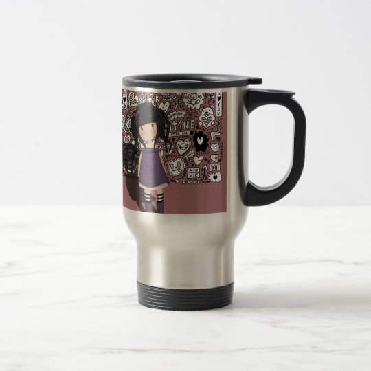 Dolly girl in purple travel mug