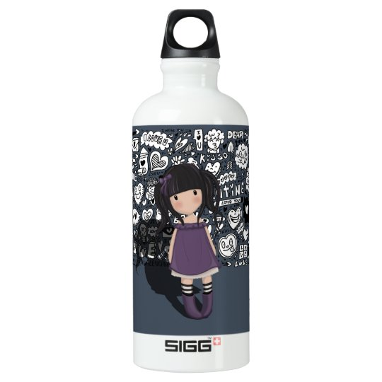 Dolly girl in purple water bottle