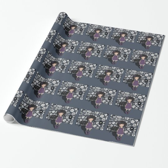 Dolly girl in purple wrapping paper
