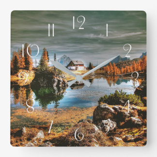 Dolomites mountains, italy square wall clock