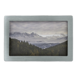 Dolomites winter scene rectangular belt buckle