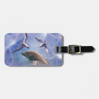 Dolphin and diving birds luggage tag