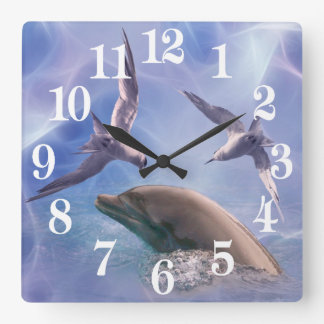 Dolphin and diving birds square wall clock