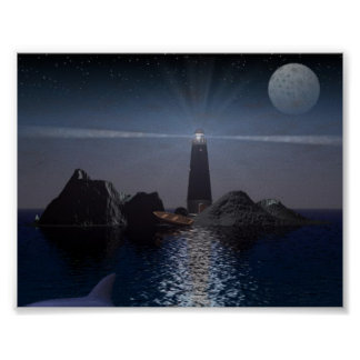 Dolphin and Lighthouse at night Poster