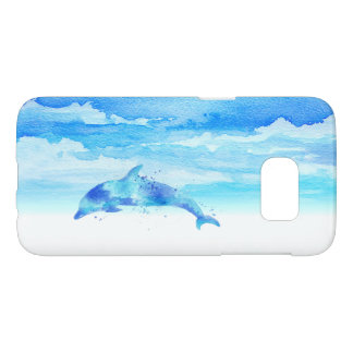 Dolphin and Sky Watercolor Samsung Galaxy S7 Case