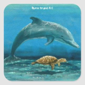 Dolphin and Turtle swimming together ! Square Sticker