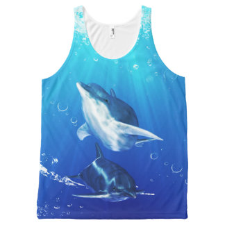 Dolphin Art All-Over Printed Unisex Tank