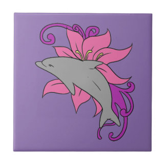 Dolphin Beside a Lily Tile
