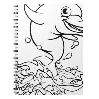 Dolphin Cartoon Character Splashing Notebook