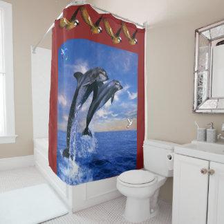 Dolphin childrens shower curtain