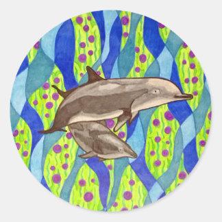 dolphin classic round sticker