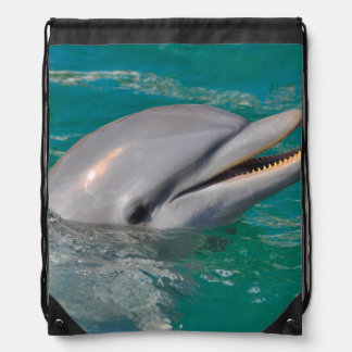 Dolphin Close Up Drawstring Bag