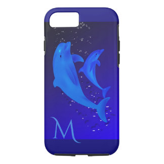 Dolphin Cobalt Blue Ocean Sea Monogram iPhone 7 iPhone 8/7 Case