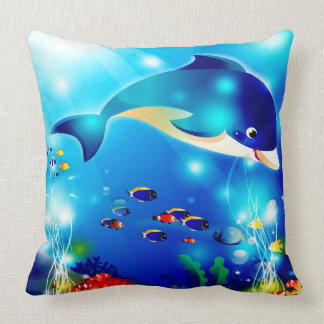 Dolphin & Colorful Sea-Life Digital Illustration Throw Pillow