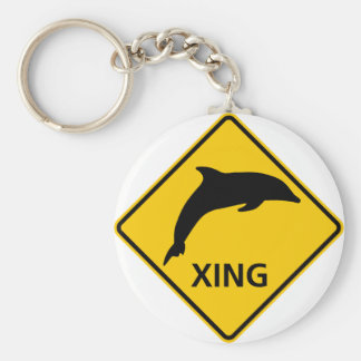 Dolphin Crossing HIghway Sign Keychain