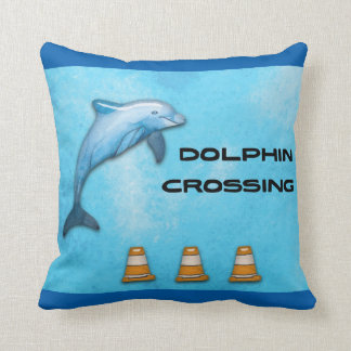 Dolphin Crossing Throw Pillow