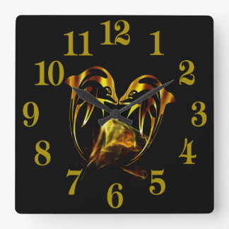 Dolphin crystal love square wall clock