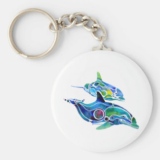 Dolphin Dance Basic Round Button Keychain