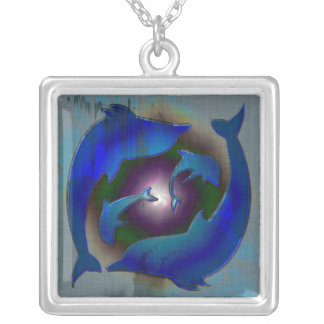 Dolphin Dance Silver Plated Necklace