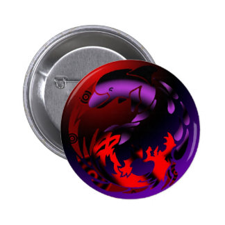 Dolphin & Dragon Yin Yang 2 Inch Round Button