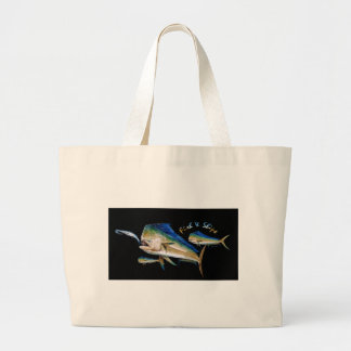 dolphin fish and  ships large tote bag