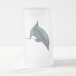 Dolphin Frosted Glass Beer Mug