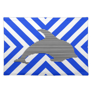 Dolphin - geometric pattern - blue. placemat