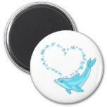 Dolphin Heart 2 Inch Round Magnet