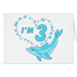 Dolphin Heart 3rd Birthday Note Card