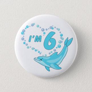 Dolphin Heart 6th Birthday 2 Inch Round Button