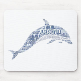 Dolphin illustrated with cities of Florida State Mouse Pad