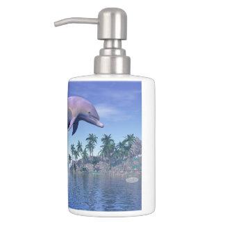 Dolphin in the tropics - 3D render Bathroom Set
