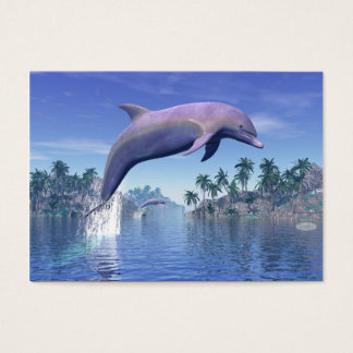 Dolphin in the tropics - 3D render Business Card