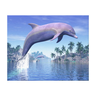 Dolphin in the tropics - 3D render Canvas Print