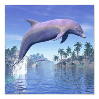 Dolphin in the tropics - 3D render Card