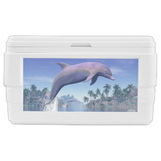 Dolphin in the tropics - 3D render Chest Cooler
