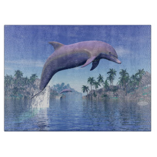 Dolphin in the tropics - 3D render Cutting Board