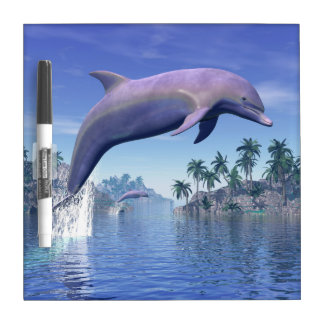 Dolphin in the tropics - 3D render Dry Erase Board