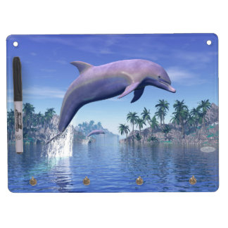 Dolphin in the tropics - 3D render Dry Erase White Board