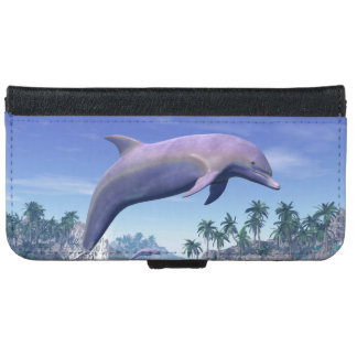 Dolphin in the tropics - 3D render iPhone 6 Wallet Case
