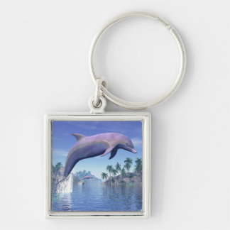 Dolphin in the tropics - 3D render Keychain