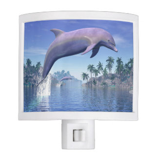 Dolphin in the tropics - 3D render Night Lights