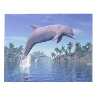 Dolphin in the tropics - 3D render Notepad