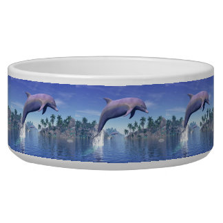Dolphin in the tropics - 3D render Pet Water Bowls