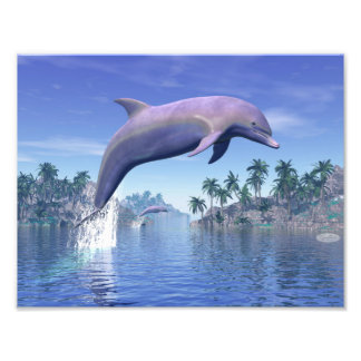 Dolphin in the tropics - 3D render Photo Print