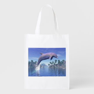 Dolphin in the tropics - 3D render Reusable Grocery Bag