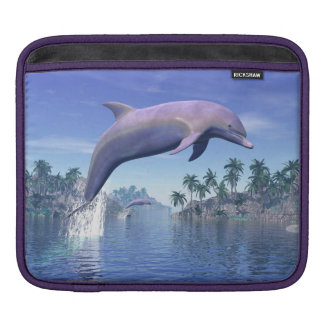 Dolphin in the tropics - 3D render Sleeve For iPads