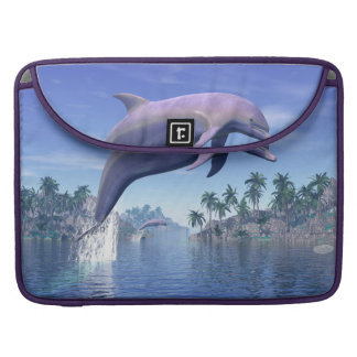 Dolphin in the tropics - 3D render Sleeve For MacBooks