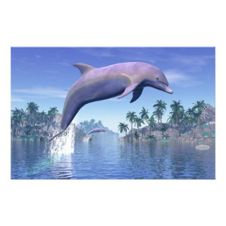 Dolphin in the tropics - 3D render Stationery