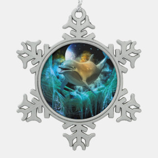 Dolphin in the universe pewter snowflake ornament